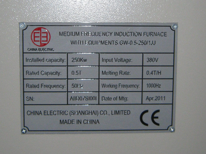0 5t Induction Furnace Amp Close Cooling Tower Were Shipped